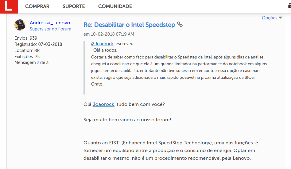Sobre desabilitar o Intel Speedstep no Lenovo 330