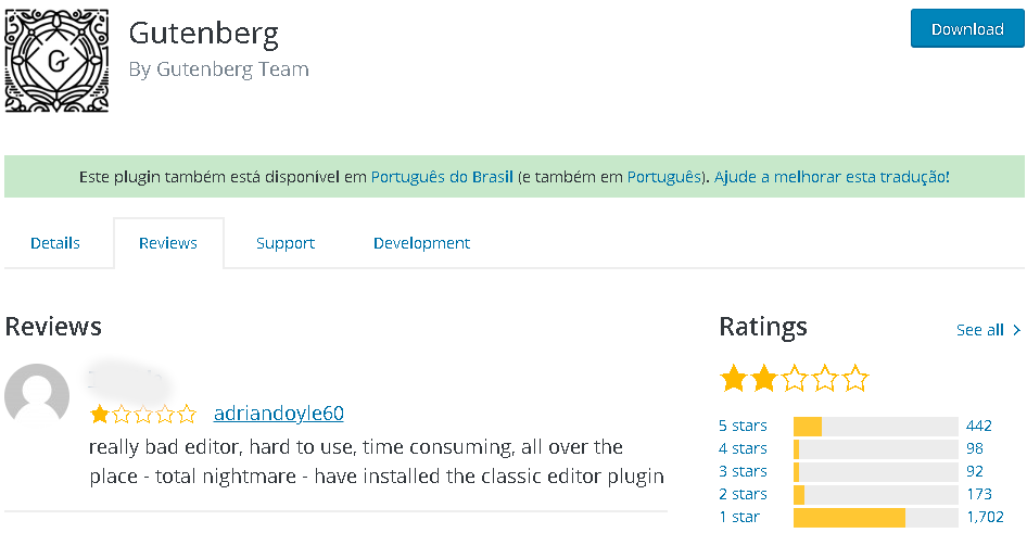 Página de reviews do plugin Gutenberg